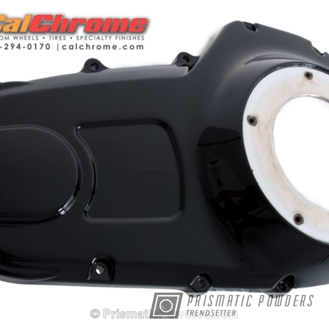 Powder Coating: Single Powder Application,Harley Davidson Primary Cover,Custom Motorcycle Parts,Ink Black PSS-0106,Motorcycles,Solid Tone