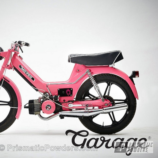 Powder Coating: Clear Vision PPS-2974,Ink Black PSS-0106,powder coating,Restored,Custom 1978 Puch Maxi Moped,powder coated,motorcycle,Prismatic Powders,Motorcycles,Sassy PSS-3063
