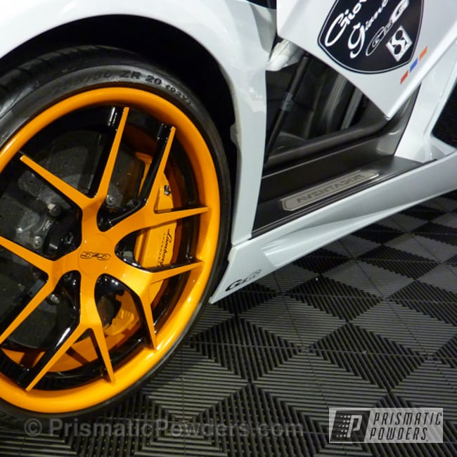 Powder Coating: Wheels,Automotive,Powder Coated Ferrari Wheels,New Tucker Orange PMB-4209,Ferrari,Orange Wheels