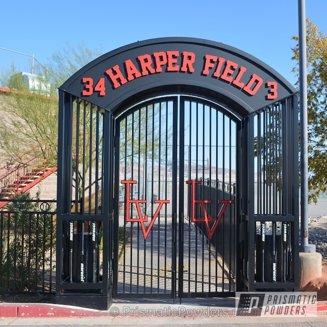 Powder Coating: Matt Black PSS-4455,Las Vegas High School Baseball Field,The entry has 22 each Marucci BB baseball bats,Casper Clear PPS-4005,baseball bat handles,Furniture