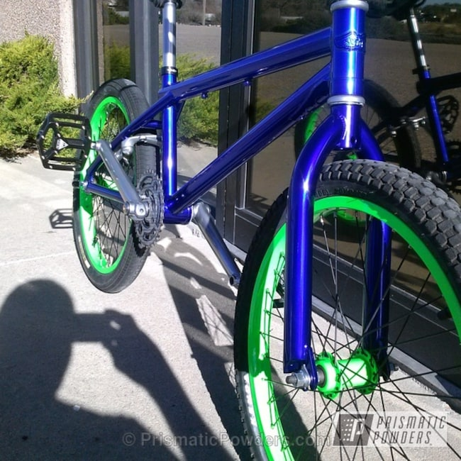 Powder Coating: Bicycles,SUPER CHROME USS-4482,chrome,Bike,LOLLYPOP BLUE UPS-2502,Powder Coated Bike,powder coating,powder coated,Prismatic Powders,Custom Bike,Custom 2 Coats,Neon Green PSS-1221