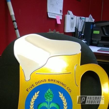 Powder Coating: Flaming Gold PPB-4698,SUPER CHROME USS-4482,chrome,Brewery Clock,powder coating,powder coated,Prismatic Powders,Art,Cream PMB-4331,Custom Clock,Miscellaneous