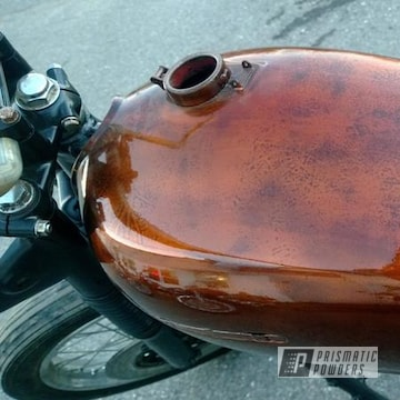 Custom Motorcycle Parts Coated In A Transparent Copper Powder Coat