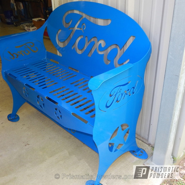 Powder Coating: Single Powder Application,RAL 5017 RAL-5017,Custom Patio Furniture,Ford Bench,Solid Tone,Furniture