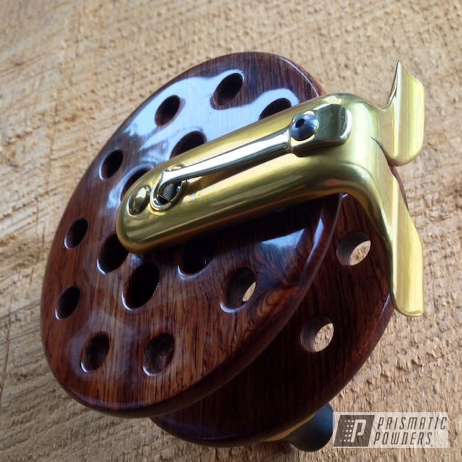 "Powder Coating: powder coating,powder coated,Prismatic Powders,4"" Spey Reel in Rosewood,Buttered Brass PPS-1547,Custom fishing reel,Miscellaneous"