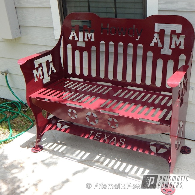 Powder Coating: Single Powder Application,RAL 3005 Wine Red,Custom Patio Furniture,Solid Tone,Texas A&M Bench,Furniture