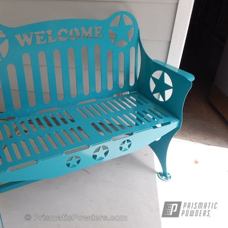 Powder Coating: Single Powder Application,Custom Patio Furniture,Solid Tone,Indian Turquoise PSS-2791,Texas Welcome Bench,Furniture