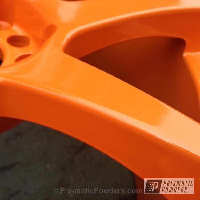 Powder Coating: Wheels,Custom Wheels,New Tucker Orange PMB-4209,powder coating,Powder Coated Wheels,powder coated,Prismatic Powders,MB Battles Wheels