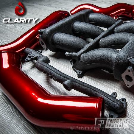Powder Coating: Splatter Black PWS-4344,Automotive,GTR Intake Parts,SUPER CHROME USS-4482,chrome,LOLLYPOP RED UPS-1506,Super Chrome Base Coat,Three Powder Application,Textured