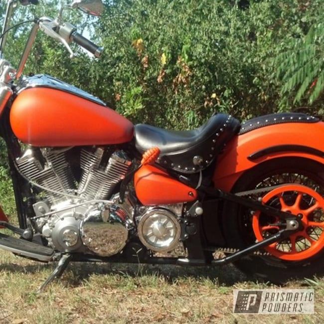 Powder Coating: Custom Chopper,powder coating,powder coated,Prismatic Powders,Motorcycles,Custom 2 Coats,Harley,Casper Clear PPS-4005,M&M ORANGE PSS-5678