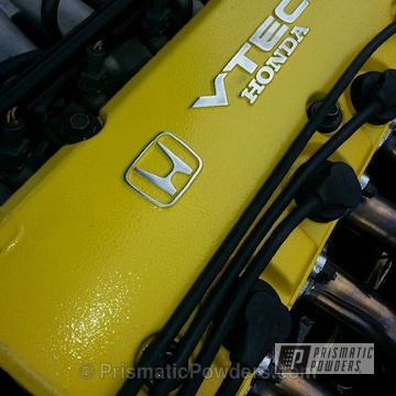 Honda Vtec Engine Cover In  Our Canary Yellow Powder Coat