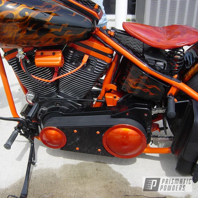 Powder Coating: Lollypop Tangelo PPS-2291,Orange and black motorcycle,Ink Black PSS-0106,USMC motorcycle,powder coating,powder coated,motorcycle,Prismatic Powders,Custom Motorcycle,Motorcycles,Cosmic Orange UMB-1841