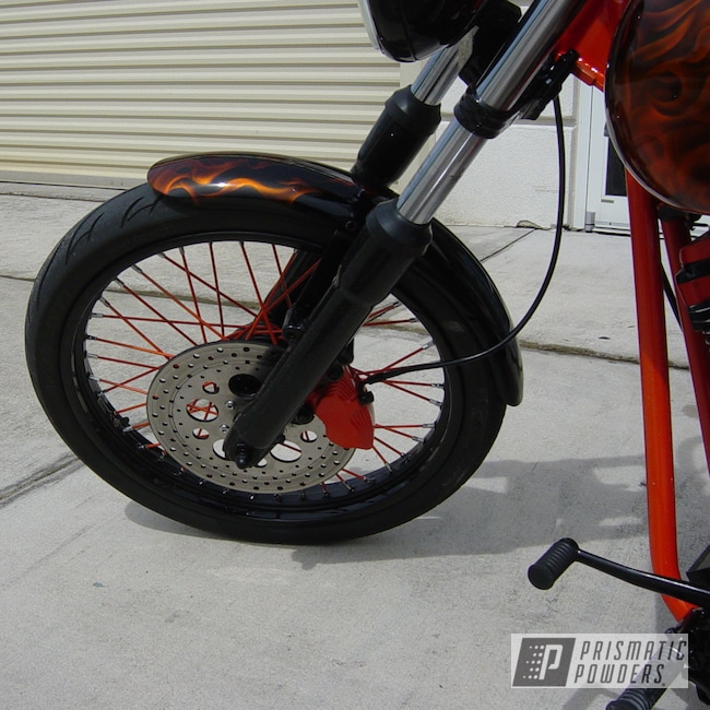 Powder Coating: Lollypop Tangelo PPS-2291,Orange and black motorcycle,Ink Black PSS-0106,USMC motorcycle,powder coating,powder coated,Prismatic Powders,Custom Motorcycle,Motorcycles,COSMIC ORANGE UMB-1841
