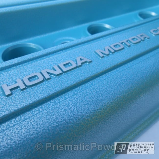 Powder Coating: Automotive,Aqua/Silver PVB-8117,Honda,Textured Finish,Honda Engine Cover,Textured Powder Coating,Textured,Valve Cover,B18 valve cover