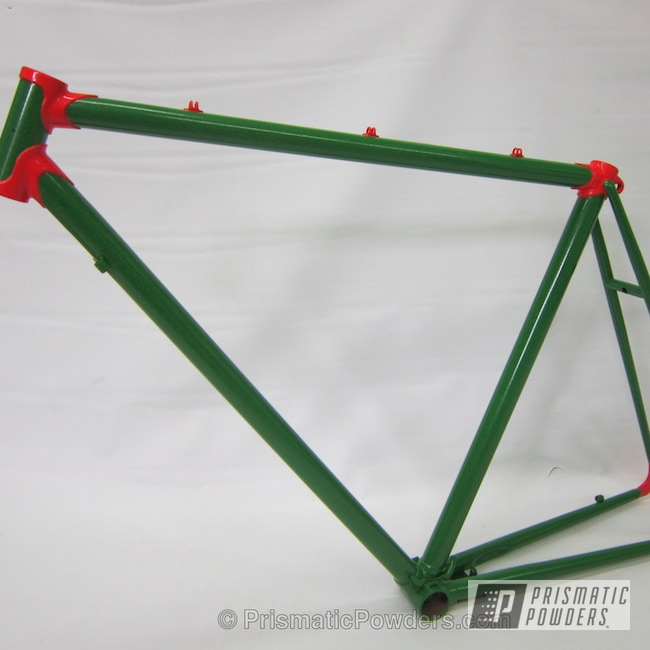 Powder Coating: Custom,Bicycles,Tomaco Green PMB-4054,RAL 3018 Strawberry Red,powder coating,Watermelon Themed Bicycle Frame,powder coated,Prismatic Powders