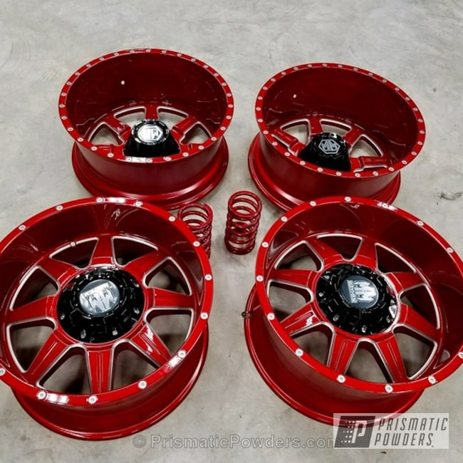 Powder Coating: Wheels,Custom,Automotive,Mayhem Wheels,Clear Vision PPS-2974,Heavy Silver PMS-0517,LOLLYPOP RED UPS-1506,Three Powder Application,Clear Top Coat