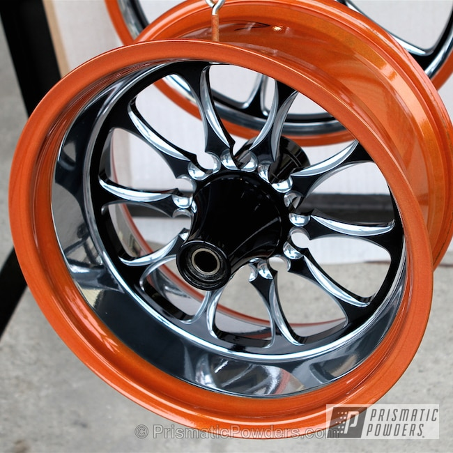 Powder Coating: Wheels,Orange and Black Wheels,Clear Vision PPS-2974,Ink Black PSS-0106,Super Dust Orange PPB-5013,powder coating,powder coated,Prismatic Powders,Motor Cycle Wheels