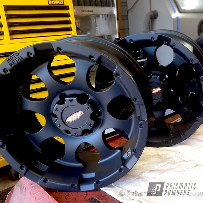 Powder Coating: Single Powder Application,Wheels,Matte Black PSS-4455,Automotive,Cherokee Wheels,Solid Tone