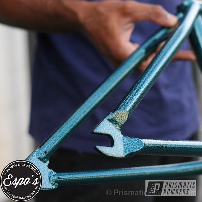 Powder Coating: Bicycles,Federal Washington BMX Frame,Silver Artery PVS-3014,Cortez Teal PPS-4477
