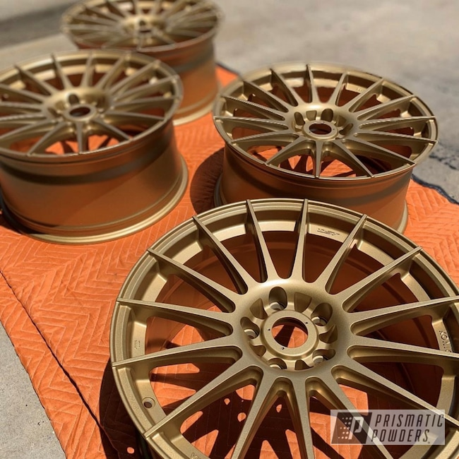 Powder Coating: Wheels,Automotive,Custom Rims,Rims,Gold Metallic PMS-6374,Satin Poly Gold PMB-6487