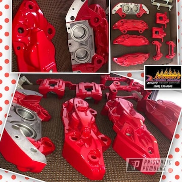 Powder Coated Red Custom Brake Calipers
