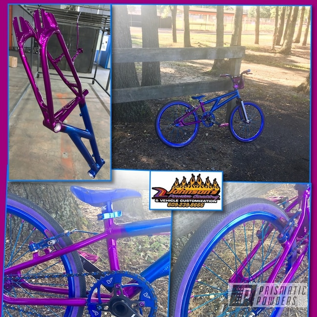Powder Coating: Bicycles,Clear Vision PPS-2974,SUPER CHROME USS-4482,Peeka Blue PPS-4351,Bicycle Parts,Illusion Violet PSS-4514,Bicycle Frame