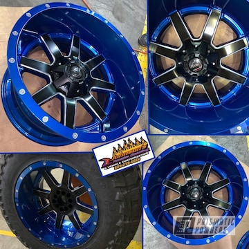 Powder Coated Blue And Black 20 Inch Automotive Wheels