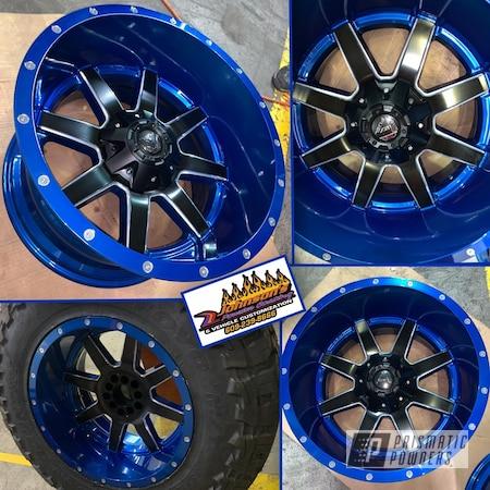 "Powder Coating: Wheels,Automotive,SUPER CHROME USS-4482,20"" Wheels,Peeka Blue PPS-4351,20"",Silk Satin Black HSS-1336"