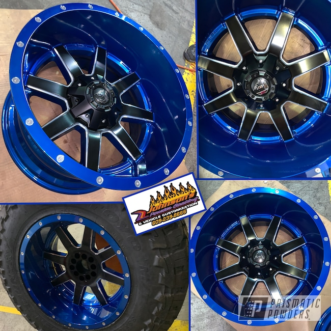 "Powder Coating: Wheels,Automotive,SUPER CHROME USS-4482,20"" Wheels,Peeka Blue PPS-4351,20"",Silk Satin Black HSS-1336"