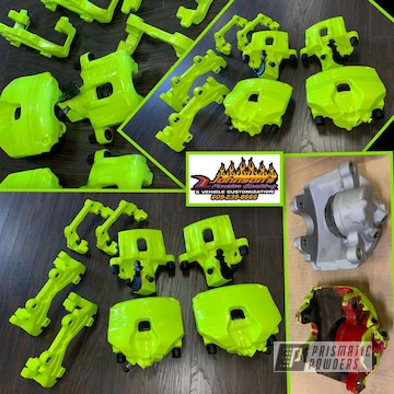 Powder Coated Neon Green Custom Brake Calipers