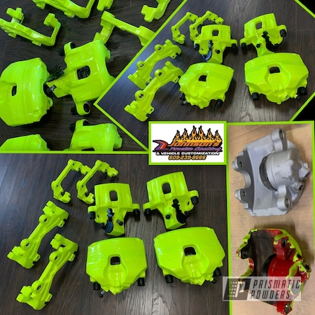 Powder Coating: Automotive,Brakes,Brake Calipers,Cloud White PSS-0408,Shocker Yellow PPS-4765