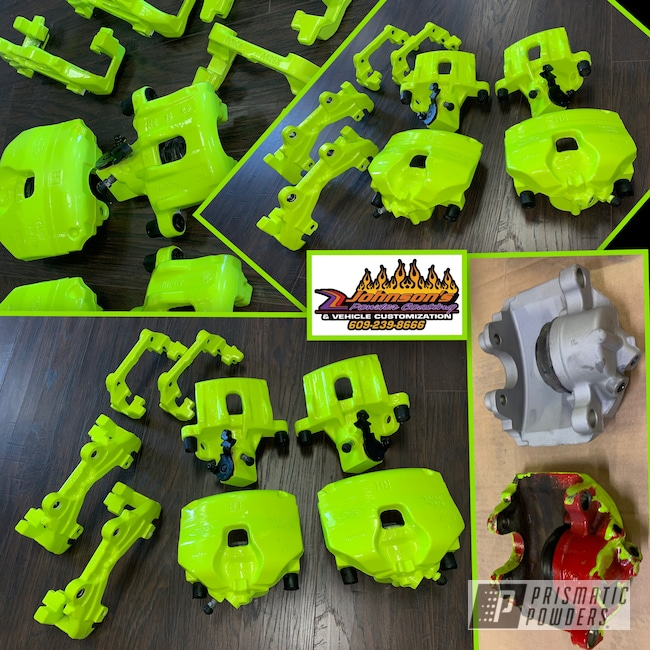 Powder Coating: Automotive,Brakes,Brake Calipers,Cloud White PSS-0408,Shocker Yellow PPS-4765
