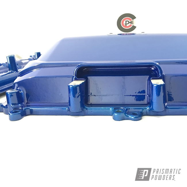 Powder Coating: Automotive,Clear Vision PPS-2974,Valve Covers,GLOSS BLACK USS-2603,Illusion Smurf PMB-6909