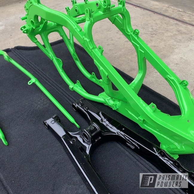 Powder Coating: Automotive,Kawasaki,Gearhead,Kawasaki Motorcycle,Motorcycle Parts,Motor Bike Parts,Motor Sled,Ford Tuxedo PMB-6994,Kiwi Green PSS-5666