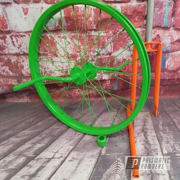 Powder Coated Green And Orange Unicycle Bike Parts