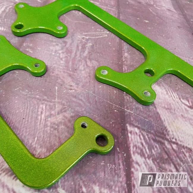 Powder Coating: Automotive,Clear Vision PPS-2974,Illusion Sour Apple PMB-6913,Automotive Parts,brackets