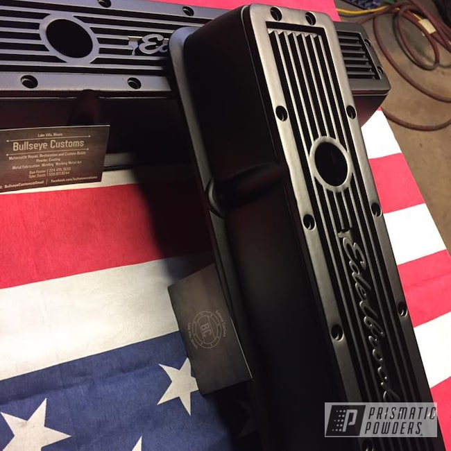 Powder Coating: Matte Black PSS-4455,Automotive,Edelbrock,Valve Covers