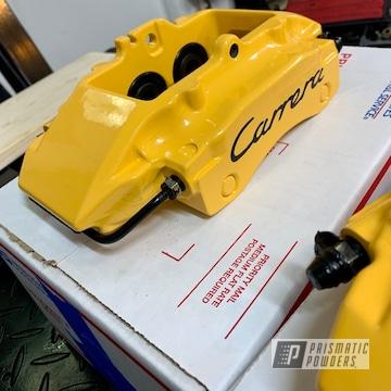 Powder Coated Yellow Porsche Carrera Brake Calipers