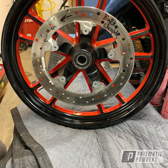 Powder Coating: Racer Red PSS-5649,Wheels,Automotive,Motorcycles,Two Tone