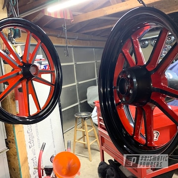 Powder Coated Red And Black Two Tone Motorcycle Rims