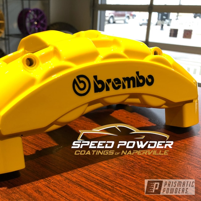 Powder Coating: Clear Vision PPS-2974,Brembo,BMW,Brake Calipers,Brembo Brake Calipers,Custom Brakes,Hot Yellow PSS-1623