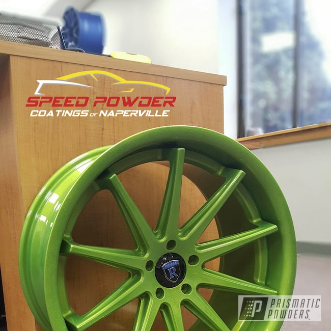 Powder Coating: Wheels,Automotive,Clear Vision PPS-2974,Illusion Sour Apple PMB-6913