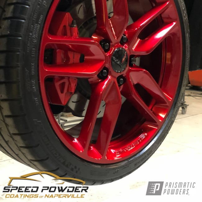 Powder Coating: Wheels,Automotive,SUPER CHROME USS-4482,Rancher Red PPB-6415