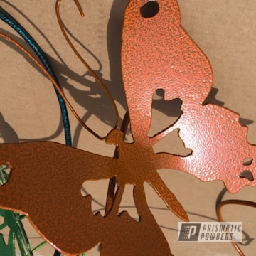 Powder Coated Rusty Orange Metal Butterfly Yard Art