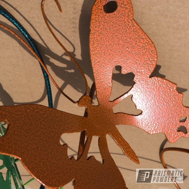 Powder Coating: Custom,Metal Art,Yard Art,Art,Butterfly,Striker Orange PPS-4750,Silver Artery PVS-3014