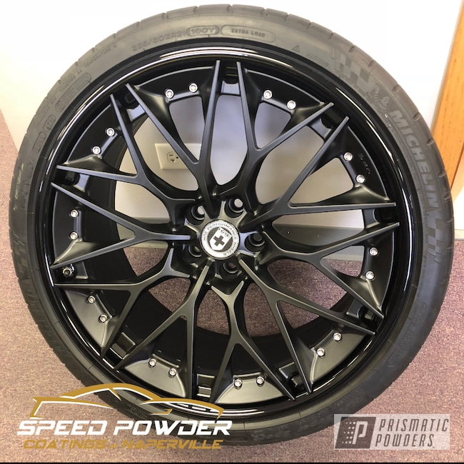 Powder Coating: Wheels,Automotive,Alloy Wheels,Ink Black PSS-0106,3pc Wheels,Silk Satin Black HSS-1336