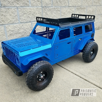 Powder Coated Blue Custom Jeep Themed Fire Pit