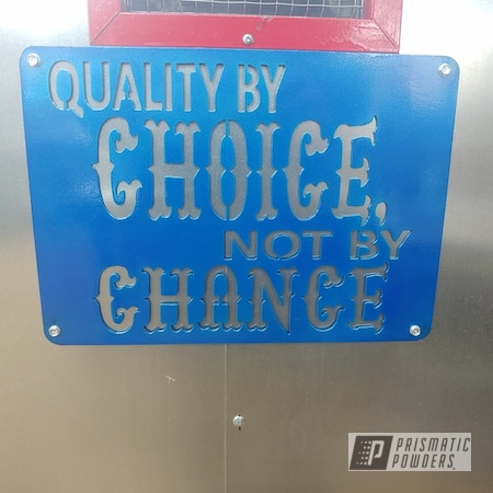 Powder Coating: Clear Vision PPS-2974,Illusion Blueberry PMB-6908,Shop display,Custom Sign,Metal Sign,Shop