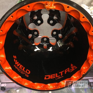Powder Coated Orange And Black 16 Inch Two Tone Weld Racing Wheels