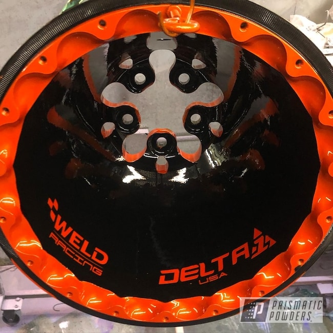 "Powder Coating: Wheels,Automotive,Clear Vision PPS-2974,Rims,GLOSS BLACK USS-2603,16"" Wheel,Illusion Tangerine Twist PMS-6964,WELD Wheels,Beadlock"